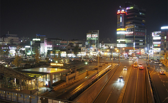 Uijeongbu At Night In South Korea