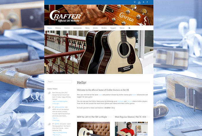 Crafter Guitars UK Website